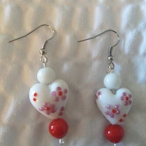 Handmade Heart dangling earrings.